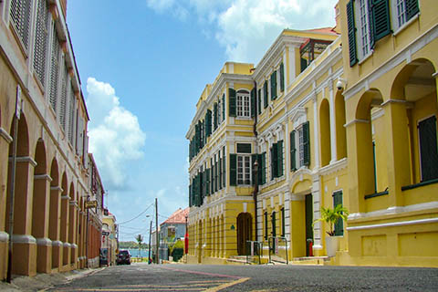 A stock photo of a street in Christiansted, St. Croix.