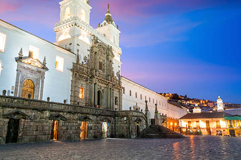 A stock photo of the Plaza De San Francisco in Quito, Ecuador.