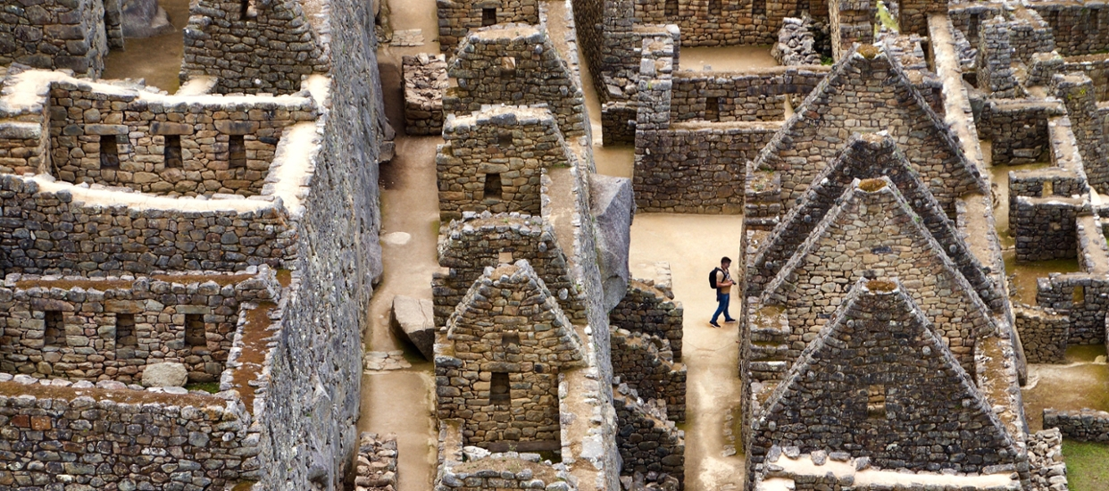 An aerial photo of ruins at Machu Picchu in Peru.