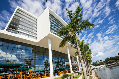 A photo of the Shalala Student Center at the University of Miami Coral Gables campus.