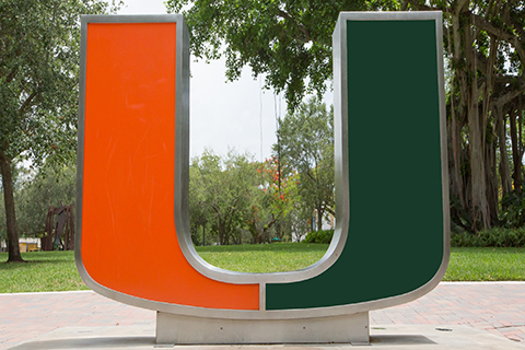 A photo of the U statue at the University of Miami Coral Gables campus.