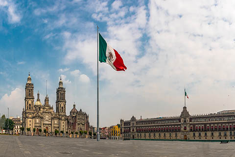 A photo of Zocalo, the main square of Mexico City, Mexico.